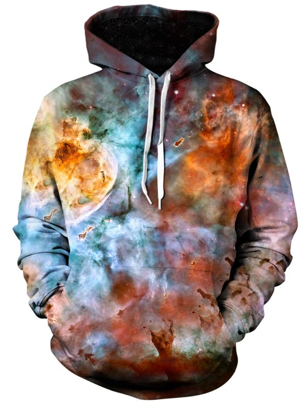 abstracted nebula art extended pullover front - Galaxy Hoodie