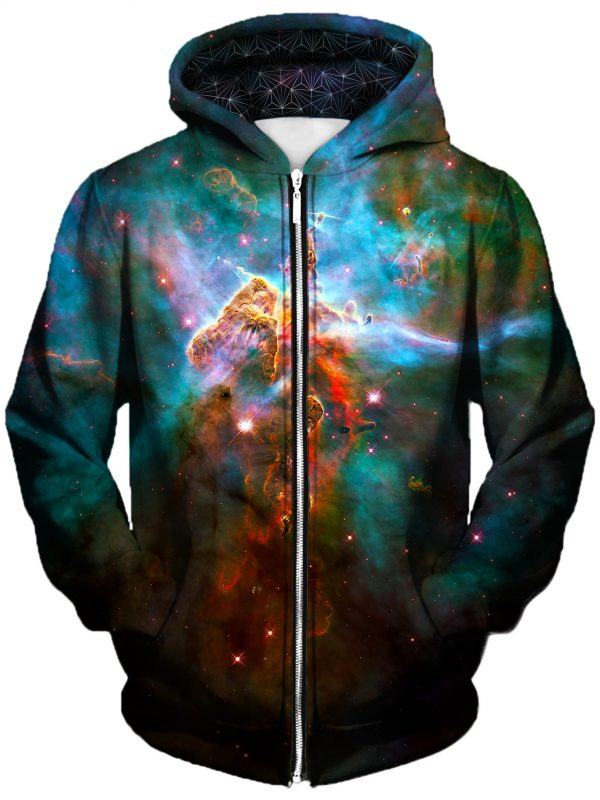 aura art zip front - Galaxy Hoodie