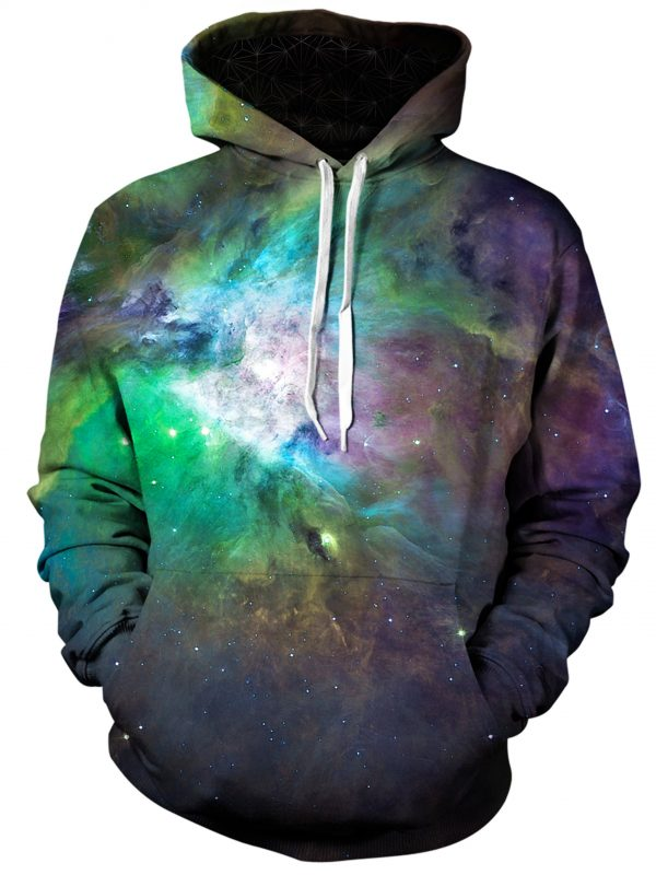 galactic green galaxy art pullover front - Galaxy Hoodie