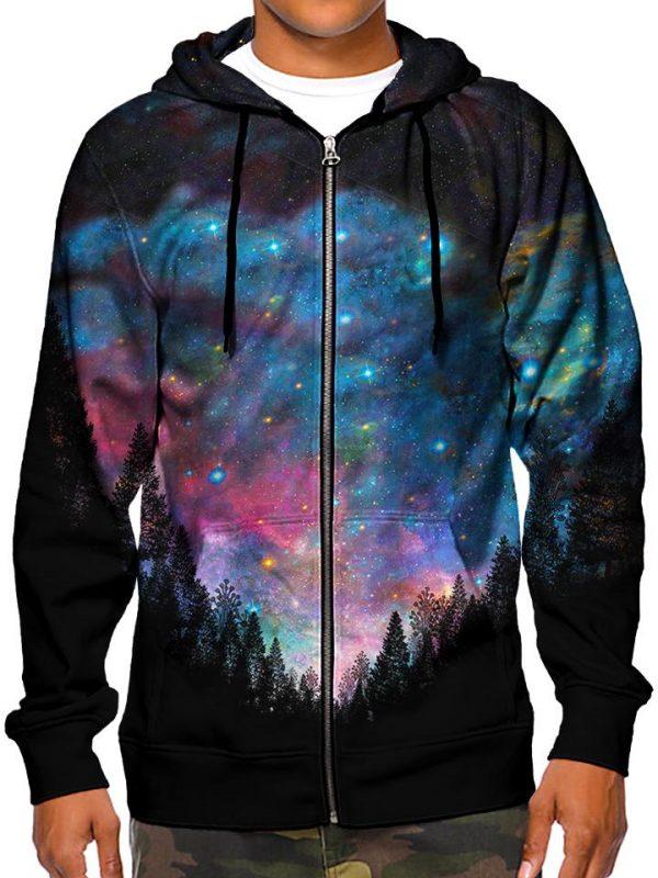 galactic valley zip modelfront - Galaxy Hoodie