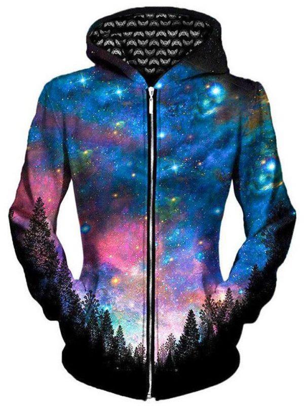 gratefully dyed galactic valley unisex zip up hoodie women - Galaxy Hoodie