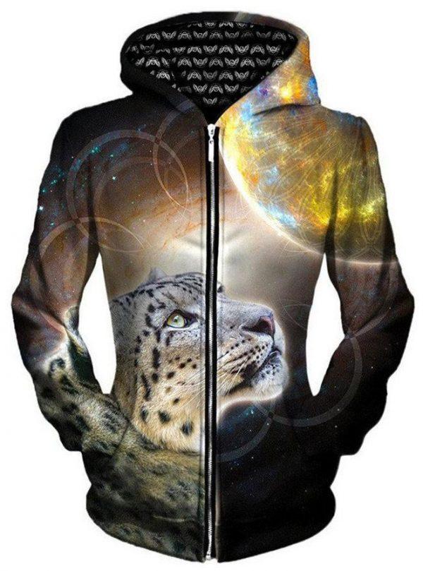 iEDM sky leopard zip womensfront - Galaxy Hoodie
