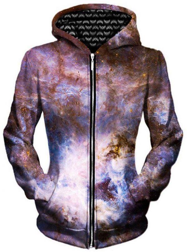 interstellar connection zip womensfront - Galaxy Hoodie