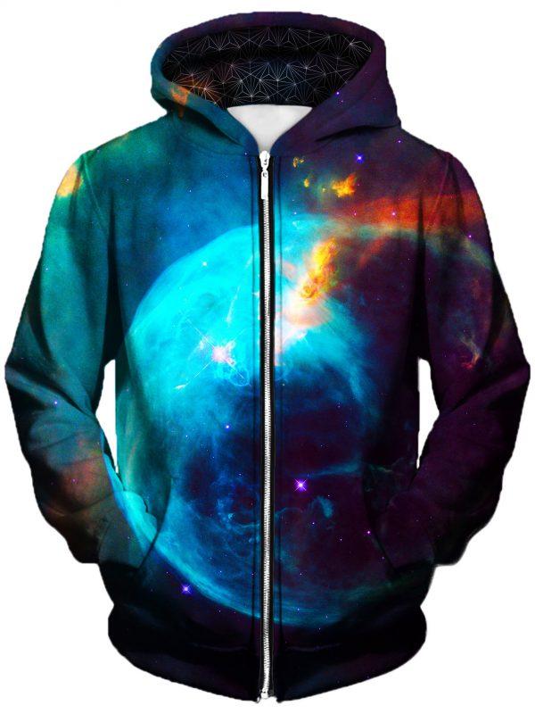 new earth art zip front - Galaxy Hoodie