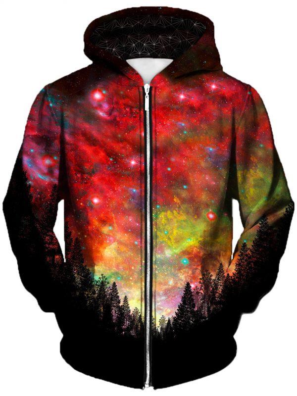 rasta woods art extended zip front - Galaxy Hoodie