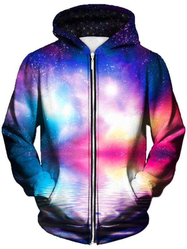 ripple in space art zip front - Galaxy Hoodie