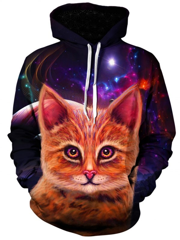 space cat art extended pullover front - Galaxy Hoodie