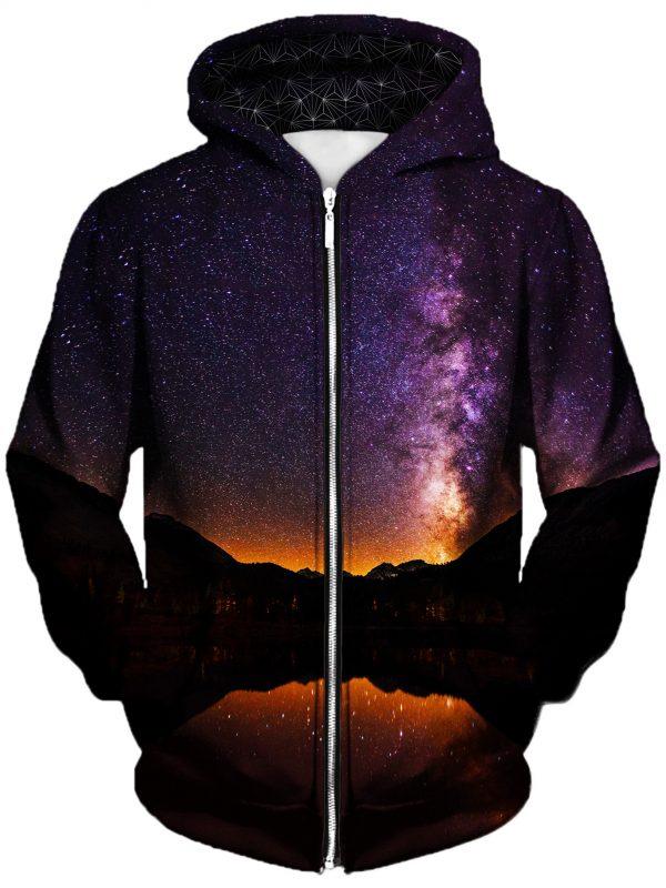 starlit valley art zip front - Galaxy Hoodie