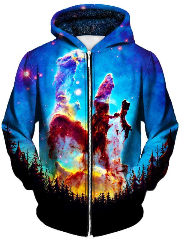 tree space art zip front - Galaxy Hoodie